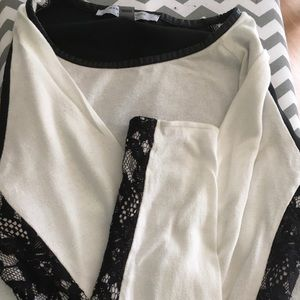 Marc New York sweater. White with black lace large